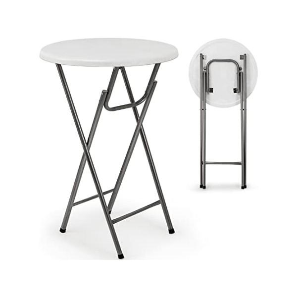 Table haute ronde pliable