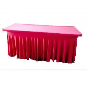 Nappe Lycra plissée rouge pour table buffet