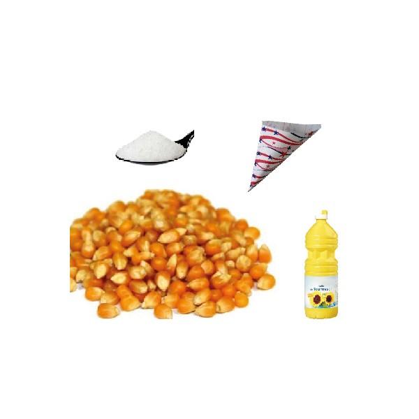 Kit sucre + maïs + cornets pour pop corn